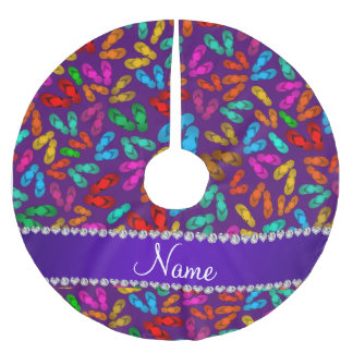 Personalized name purple rainbow sandals brushed polyester tree skirt