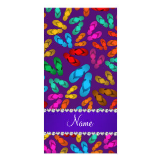 Personalized name purple rainbow sandals customized photo card