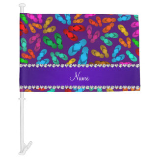 Personalized name purple rainbow sandals car flag