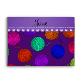 Personalized name purple rainbow yarn balls envelopes