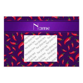 Personalized name purple red chili pepper photo print