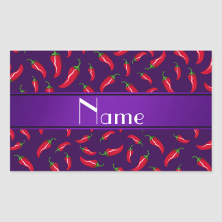 Personalized name purple red chili pepper rectangle stickers