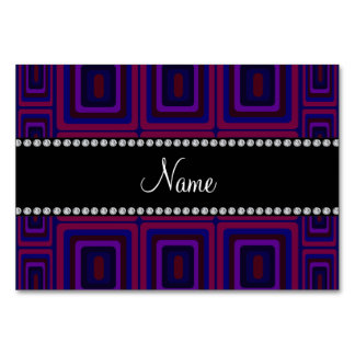 Personalized name purple retro colorful squares table card
