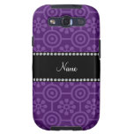 Personalized name purple retro flowers galaxy SIII cases