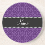 Personalized name purple retro flowers drink coaster
