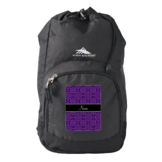 Personalized name purple retro flowers backpack