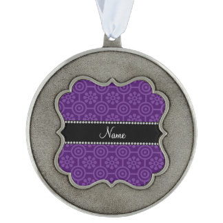 Personalized name purple retro flowers scalloped pewter ornament