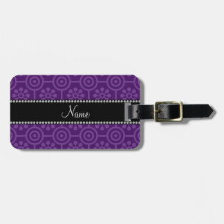 Personalized name purple retro flowers luggage tag