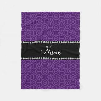 Personalized name purple retro flowers fleece blanket