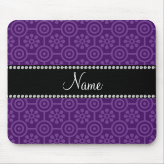Personalized name purple retro flowers mouse pad