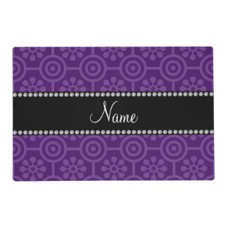 Personalized name purple retro flowers laminated placemat