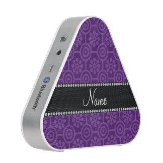 Personalized name purple retro flowers bluetooth speaker