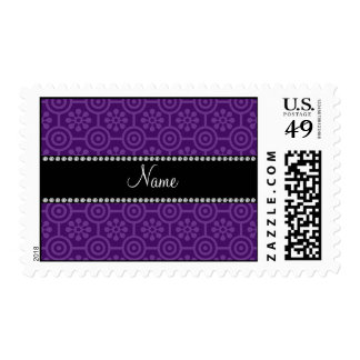 Personalized name purple retro flowers stamps