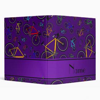 Personalized name purple road bikes 3 ring binder