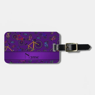 Personalized name purple road bikes luggage tag