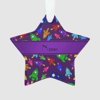 Personalized name purple rocket ships