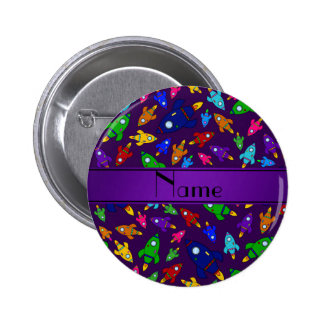 Personalized name purple rocket ships pins