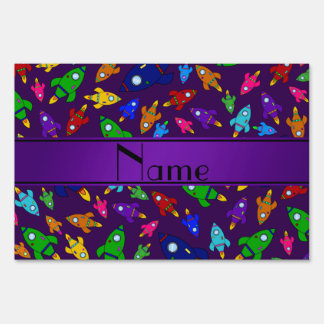 Personalized name purple rocket ships sign