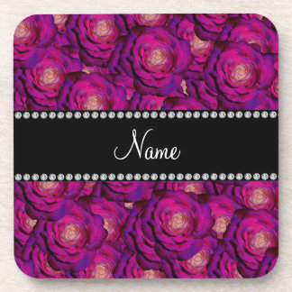 Personalized name Purple roses Beverage Coasters
