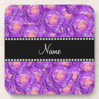 Personalized name purple roses coasters