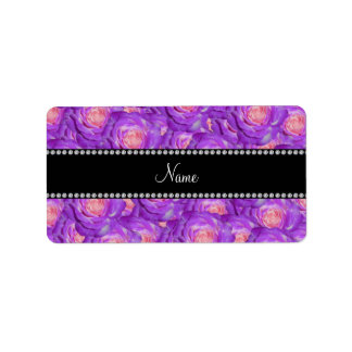 Personalized name purple roses labels