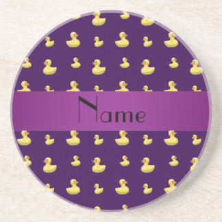 Personalized name purple rubber duck pattern beverage coaster