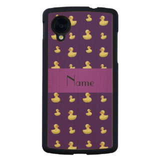 Personalized name purple rubber duck pattern carved® maple nexus 5 slim case