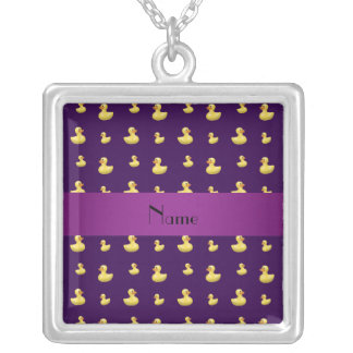 Personalized name purple rubber duck pattern pendants