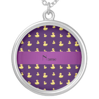 Personalized name purple rubber duck pattern necklaces
