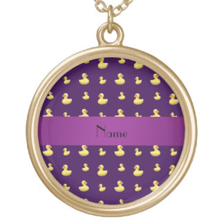 Personalized name purple rubber duck pattern personalized necklace