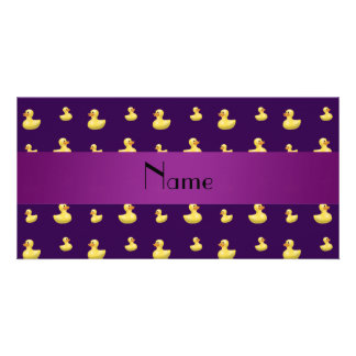 Personalized name purple rubber duck pattern photo card