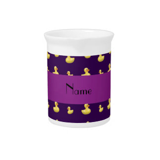 Personalized name purple rubber duck pattern pitcher