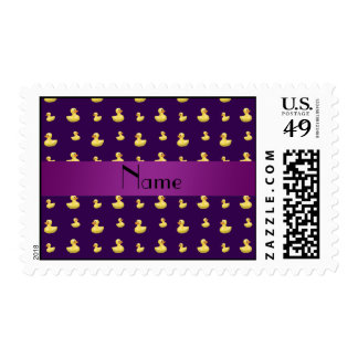 Personalized name purple rubber duck pattern postage stamps