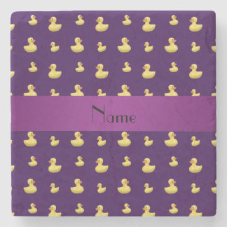 Personalized name purple rubber duck pattern stone coaster