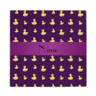 Personalized name purple rubber duck pattern wood coaster