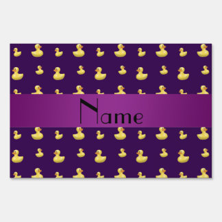 Personalized name purple rubber duck pattern yard signs