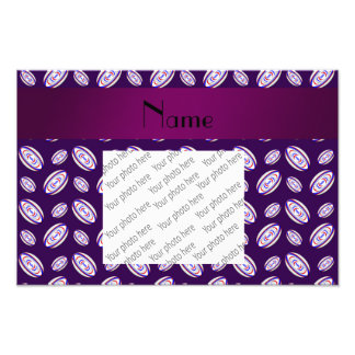 Personalized name purple rugby balls art photo