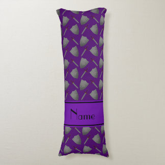 Personalized name purple shields and swords body pillow