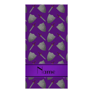 Personalized name purple shields and swords photo card