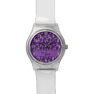 Personalized name purple siberian husky dogs wristwatch