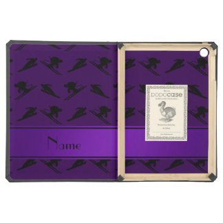 Personalized name purple ski pattern iPad air cases