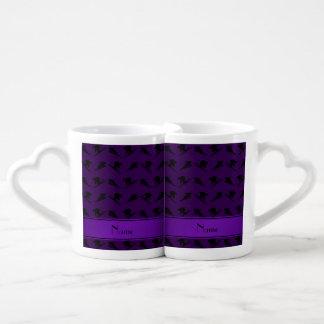 Personalized name purple ski pattern couples' coffee mug set
