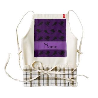 Personalized name purple ski pattern zazzle HEART apron
