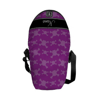 Personalized name purple skulls pattern messenger bags