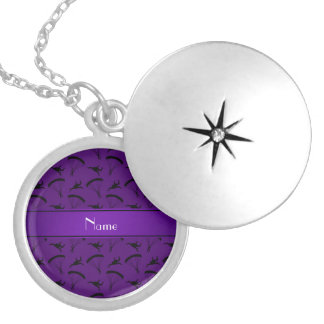 Personalized name purple skydiving pattern round locket necklace