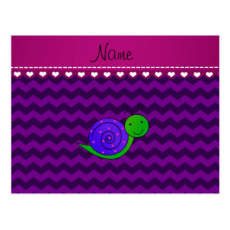 Personalized name purple snail purple chevrons post card