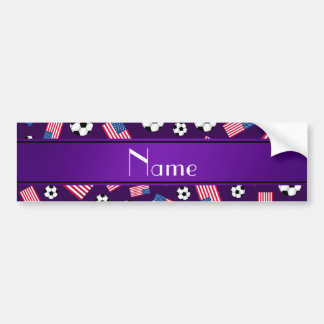 Personalized name purple soccer american flag bumper stickers