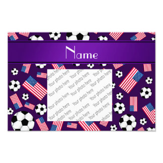 Personalized name purple soccer american flag photo print
