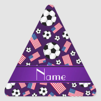 Personalized name purple soccer american flag triangle sticker