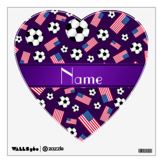 Personalized name purple soccer american flag wall decal